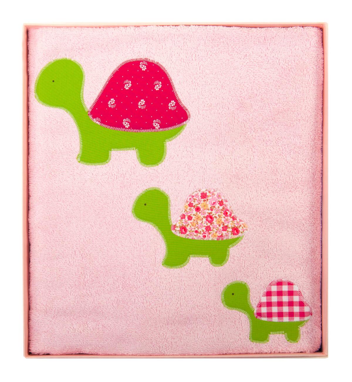 Badetuch rosa mit grün/rosa Schildkröten