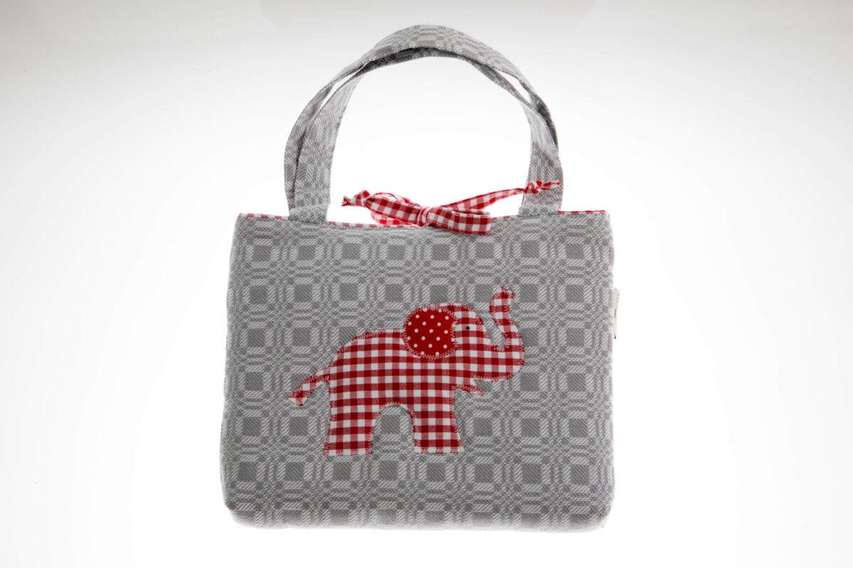 Tasche grau mit rotem Elefant