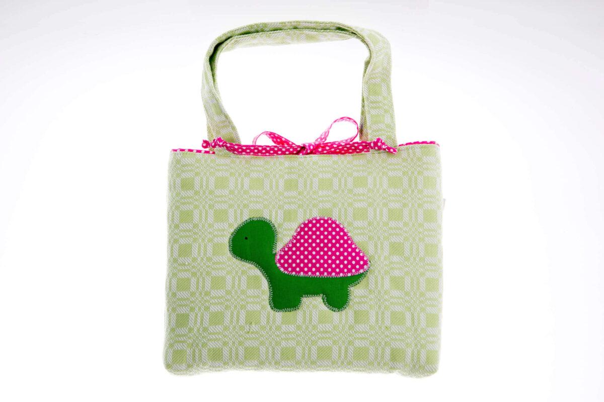 Tasche grün mit grün/rosa Schildkröte